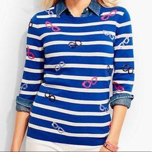 Talbots Blue and White Stripe Sweater Glasses MP